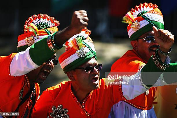 Indian fans show their support during the 2015 ICC Cricket World Cup match between Ireland and India at Seddon Park on March 10 2015 in Hamilton New...