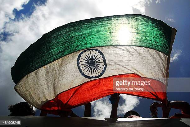 Indian fans show their support during the One Day International match between New Zealand and India at Eden Park on January 25 2014 in Auckland New...