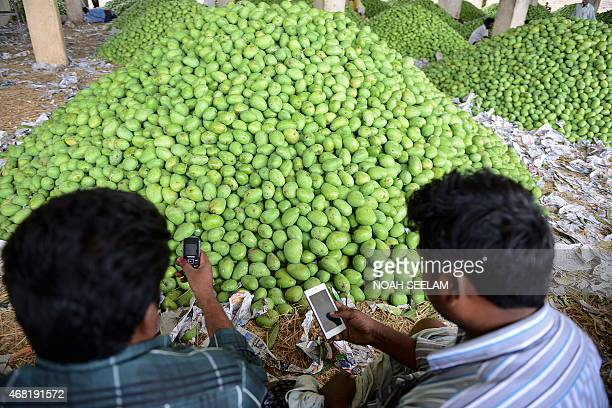Indian farmers check their mobile phones after unloading mangoes at a fruit market on the outskirts of Hyderabad on March 31 2015 AFP PHOTO/ Noah...