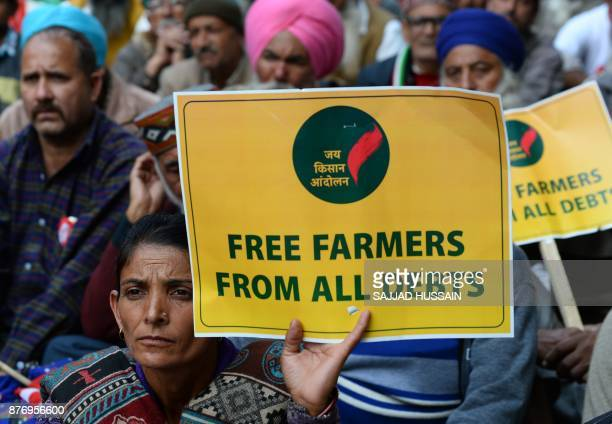 Indian farmers take part in a protest organised by different organisations in New Delhi on November 21 2017 Hundreds of farmers are gathering in the...
