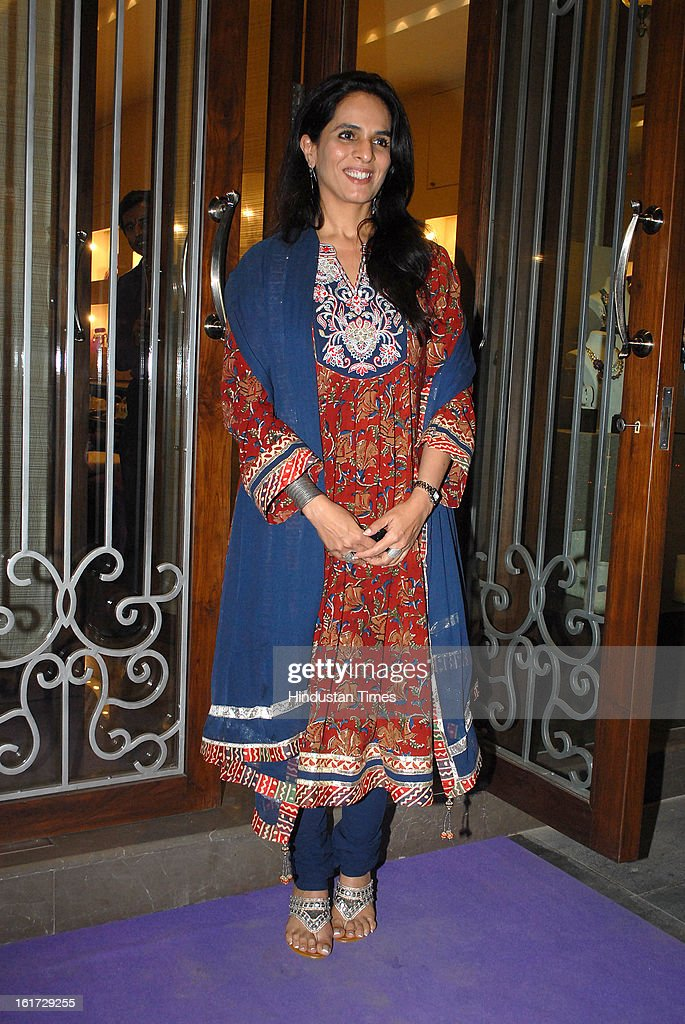 Indian fashion designer Anita Dongre during the launch of Pradeep Jethani's flagship store 'Jet Gems' at Turner Road, Bandra on February 13, 2013 in Mumbai, India.