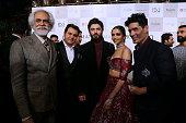Indian fashion designer Manish Malhotra along with Bollywood actors Deepika Padukone and Fawad Khan and FDCI President Sunil Sethi on day 1 of FDCI...