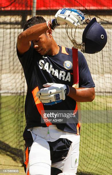 Indian fast bowler Umesh Yadav practices ahead of the fourth cricket test match against Australia at the Adelaide Oval on January 23 2012 IMAGE...