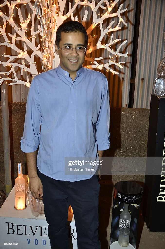 Indian fiction writer Chetan Bhagat at Special preview of Otlo Design project hosted by Belvedere Vodka at Bhavishyavani Backyard, Bandra on March 11, 2013 in Mumbai, India.