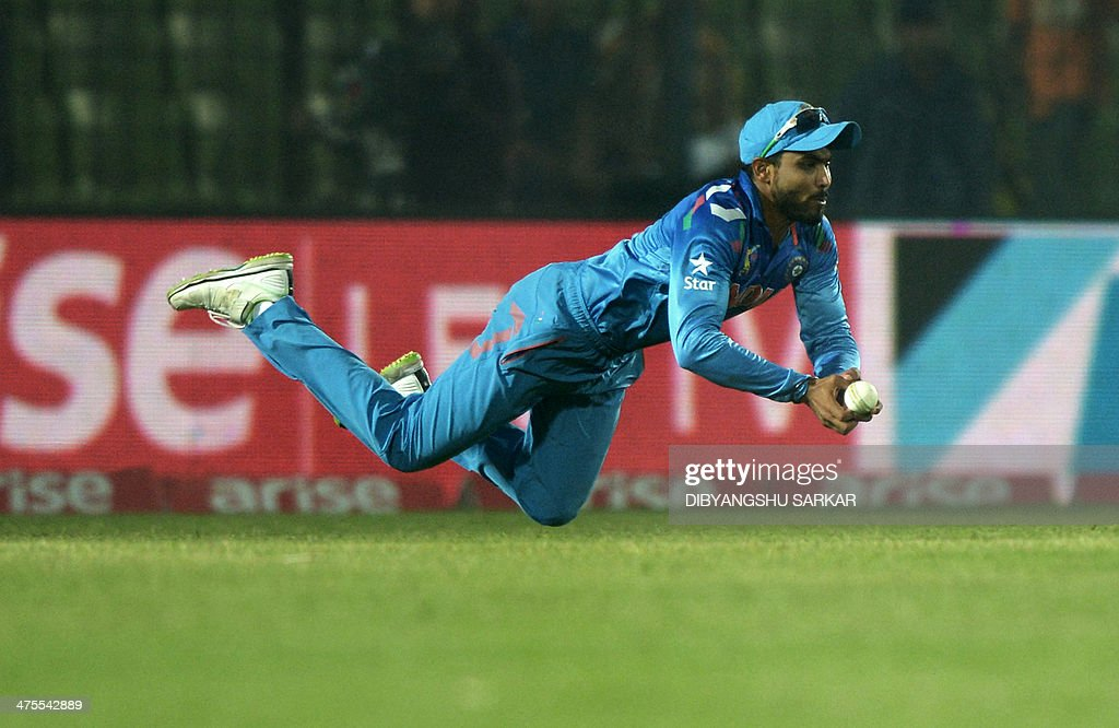 Indian fielder Ravindra Jadeja attempts a catch during the fourth match of the Asia Cup oneday cricket tournament between Indian and Sri Lanka at the...