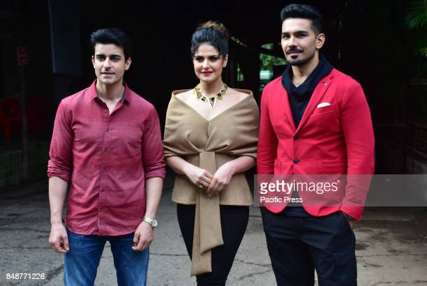 Indian film actor Abhinav Shukla Zareen Khan and Gautam Rode pose during the promotion of their upcoming film Aksar2 on the set of TVs Comedy Dangal...