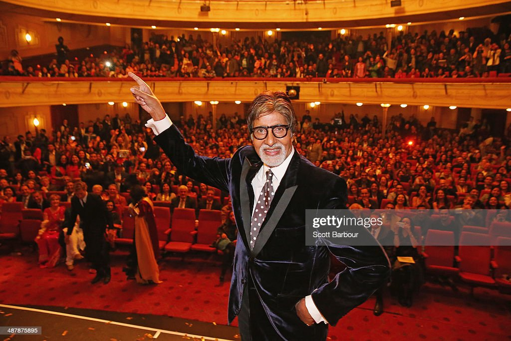 Indian film actor, <a gi-track='captionPersonalityLinkClicked' href=/galleries/search?phrase=Amitabh+Bachchan&family=editorial&specificpeople=220394 ng-click='$event.stopPropagation()'>Amitabh Bachchan</a> poses on stage during the Indian Film Festival of Melbourne Awards at Princess Theatre on May 2, 2014 in Melbourne, Australia.