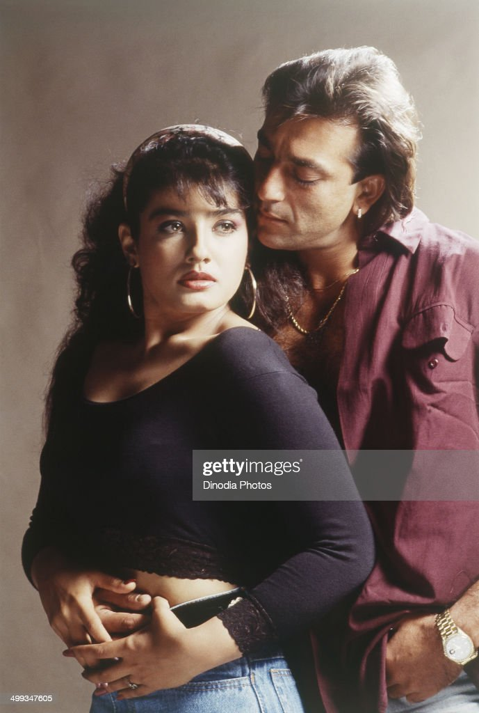 1996, Portrait of Indian film actor Sanjay Dutt and Raveena Tandon.