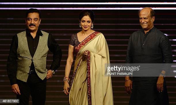 Indian film actors Sridevi Kamal Haasan and Rajinikanth attend the music launch of new film 'Shamitabh' in Mumbai on January 20 2015 'Shamitabh' is...