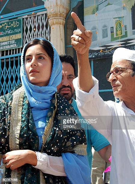 Indian film actress Katrina Kaif is shown around by attendants at the shrine of the Sufi Saint Hazrat Khwaja Muinuddin Chisty in Ajmer on March 18...