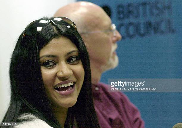 Indian film actress Konkona Sen Sharma smiles during a press conference in Calcutta 23 August 2004 The British Council of the city is organising a...