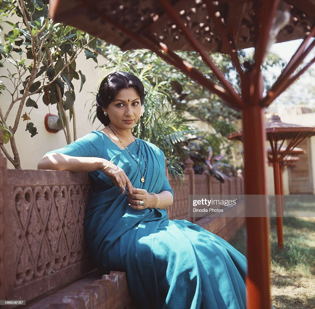 1985, Portrait Of Indian film actress Sharmila Tagore.