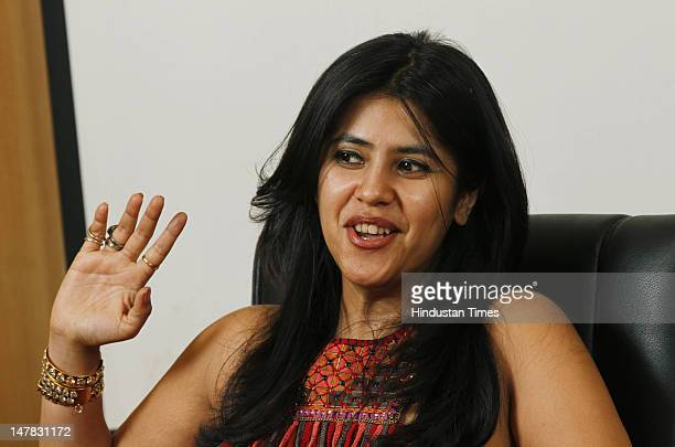 Indian Film and Television Producer Ekta Kapoor during an interview with HTEditorial team at HT House on July 2 2012 in New Delhi India 37 years old...