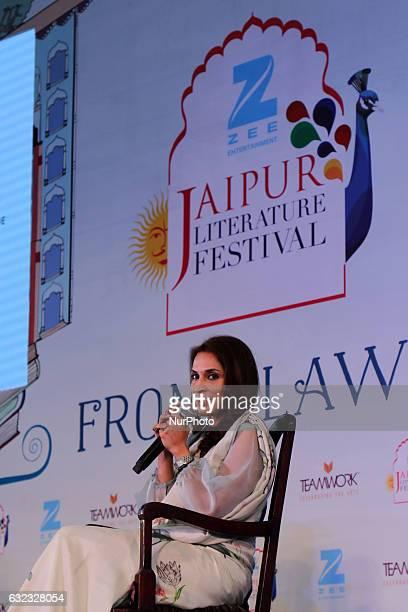 Indian Film Director Aishwaryaa Rajinikanth Dhanush speaks during the Jaipur Literature Festival at Diggi Palace in Jaipur Rajasthan India on 21st...