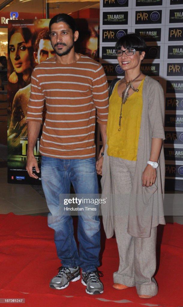 Indian film director and actor Farhan Akhtar with his wife Adhuna Bhabani Akhtar attending special screening of Film 'Talaash' at Phoenix Marketcity Mall, Kurla on November 29, 2012 in Mumbai, India.