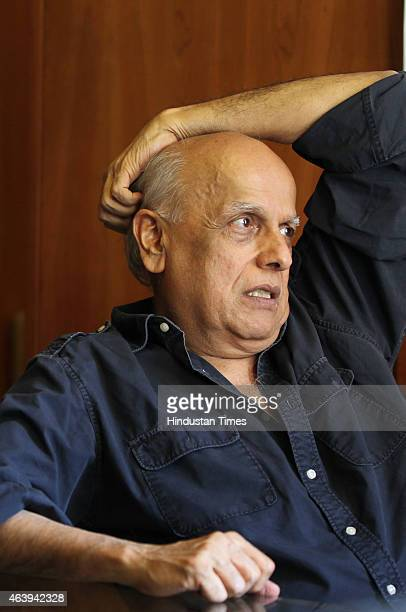 Indian film director producer and screenwriter Mahesh Bhatt poses for the photograph at his office on February 13 2015 in Mumbai India