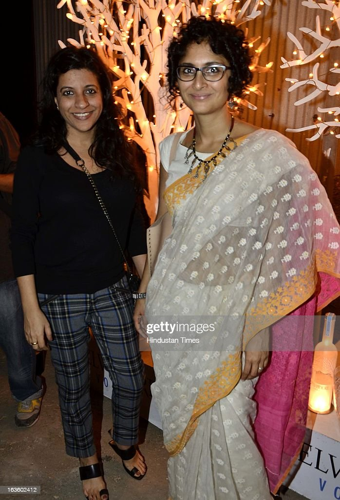 Indian film makers Zoya Akhtar and Kiran Rao at Special preview of Otlo Design project hosted by Belvedere Vodka at Bhavishyavani Backyard, Bandra on March 11, 2013 in Mumbai, India.