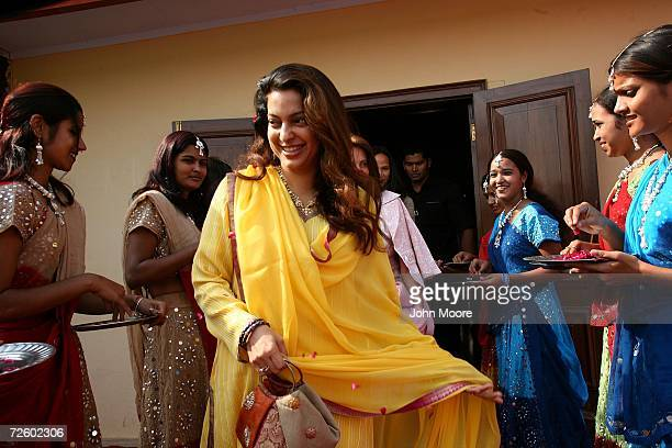 Indian film star Juhi Chawla arrives to watch the Cartier Elephant Polo Cup November 18 2006 in Jaipur in the Indin state of Rajasthan Cartier hosted...