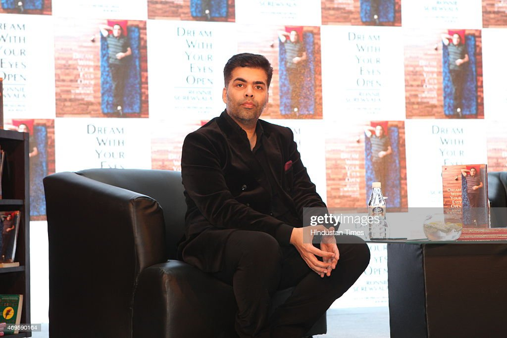 Indian filmmaker Karan Johar at the launch of book Dream With Your Eyes Open by Indian entrepreneur Ronnie Screwvala on April 8, 2015 in New Delhi, India.