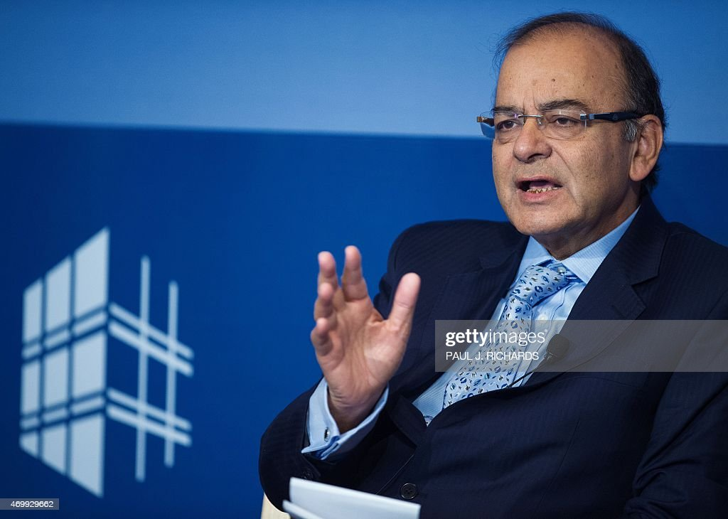 Indian Finance Minister <a gi-track='captionPersonalityLinkClicked' href=/galleries/search?phrase=Arun+Jaitley&family=editorial&specificpeople=2660950 ng-click='$event.stopPropagation()'>Arun Jaitley</a> delivers remarks at the Peterson Institute for International Economics April 16, 2015, in Washington, DC.