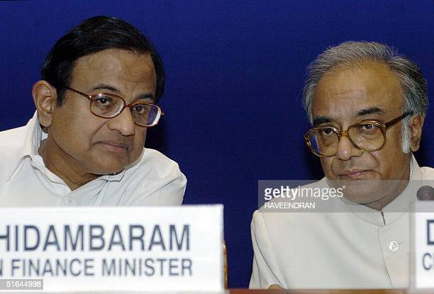 Indian Finance Minister P Chidambaram and Indian state of West Bengal's Finance Minister and chairman of the Empowered Committee on the ValueAdded...