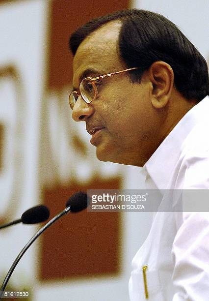 Indian Finance Minister PChidambaram addresses a gathering of businessmen and stockbrokers on the occasion of the 10th anniversary celebration of the...
