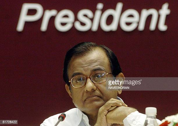 Indian Finance Minister PChidambaram looks on during the second day of the 'Bancon 2004' bankers' conference in New Delhi 11November 2004 During the...