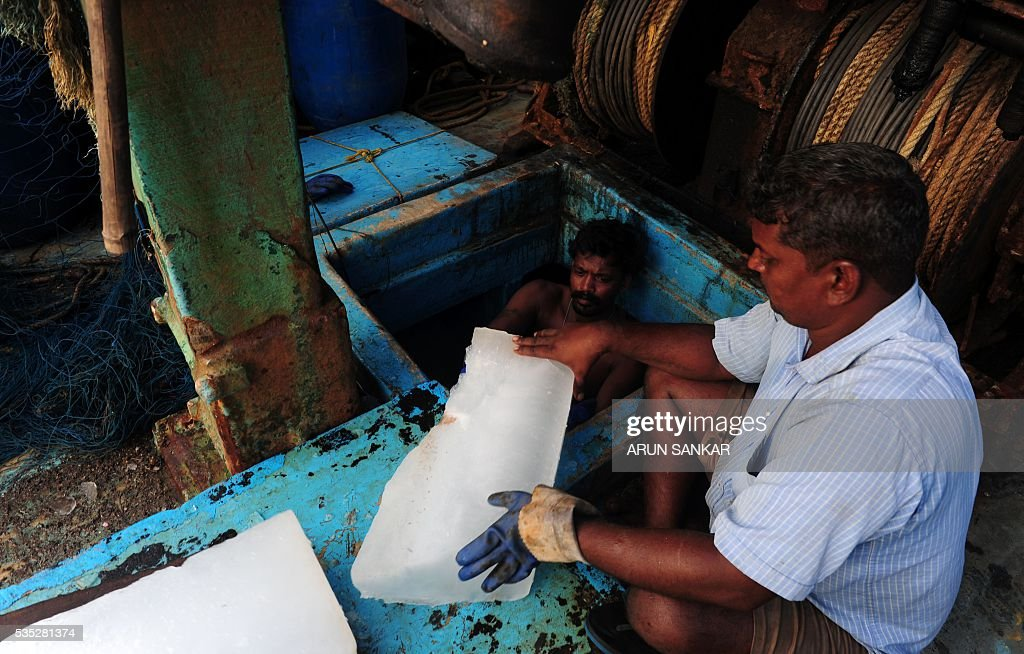 Indian fishermen load ice blocks into the hold of their mechanised boats in Chennai on May 29, 2016, as they prepare to set sail after a 45 day fishing ban on the east coast of India. Authorities in the southern Indian state of Tamil Nadu, had imposed a 45 day ban on fishing by mechanised vessels to protect marine life with only 'country boats' operating within five nautical miles of the coast exempted in the seas of The Bay of Bengal. / AFP / ARUN