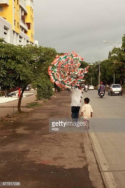Indian flag seller on road