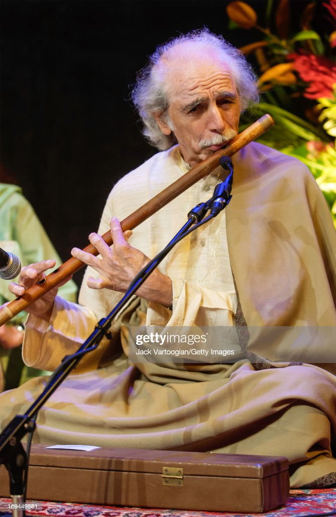 Indian flautist GS Sachdev plays a bansuri during a preperformance soundcheck before a concert at the Asia Society New York New York September 14 2004