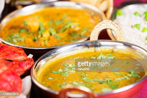 Indian food: butter chicken with basmati rice and dal makhni : Stock ...