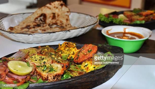 Indian food - paneer tikka and nan