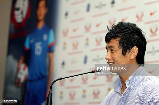 Indian Football player Bhaichung Bhutia addressing the press conference at the launch of Bhaichung Bhutia Football School on October 30 2010 in New...