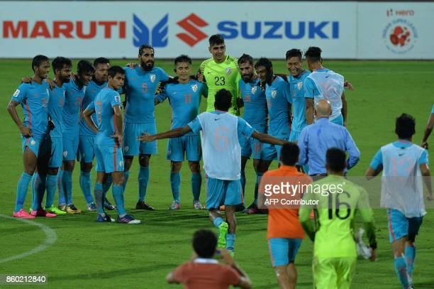 Indian football team captain Sunil Chhetri and his teammates celebrate their team's 41 victory during the 2019 AFCAsian Cup qualifying match between...