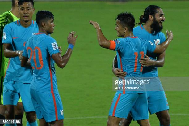 Indian football team captain Sunil Chhetri celebrates his team's 41 victory during the 2019 AFCAsian Cup qualifying match between India and Macau...