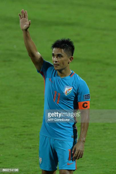 Indian football team captain Sunil Chhetri thanks the fans after his team's 41 victory during the 2019 AFCAsian Cup qualifying match between India...