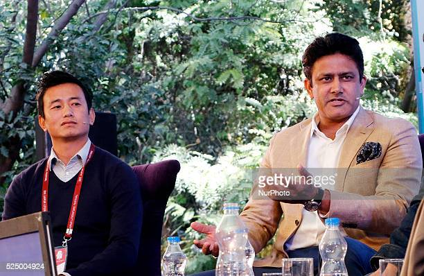 Indian Footballer Baichung Bhutia with Indian Cricketer Anil Kumble at ' India at Play ' session during the 9th Edition of Jaipur Literature Festival...