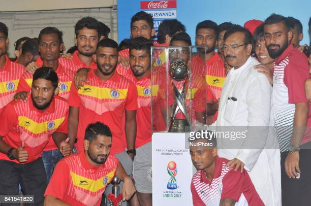 Indian Footballers and State Sports Minister aroop Biswas a group photo Session at The FIFA U17 World Cup 2017 Winners Trophy visit in Kolkata City...
