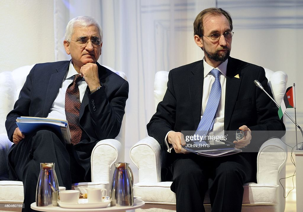 Indian Foreign Minister Salman Khurshid (L) and Jordanian envoy to the UN Prince Zeid Raad al-Hussein attend an informal plenary session in The Hague on March 25, 2014 on the second day of the two-day Nuclear Security Summit (NSS). The world must construct a system to fight nuclear terror with the world's atomic watchdog playing a central role, a draft of the Nuclear Security Summit's final statement says. AFP PHOTO/POOL/JOHN THYS