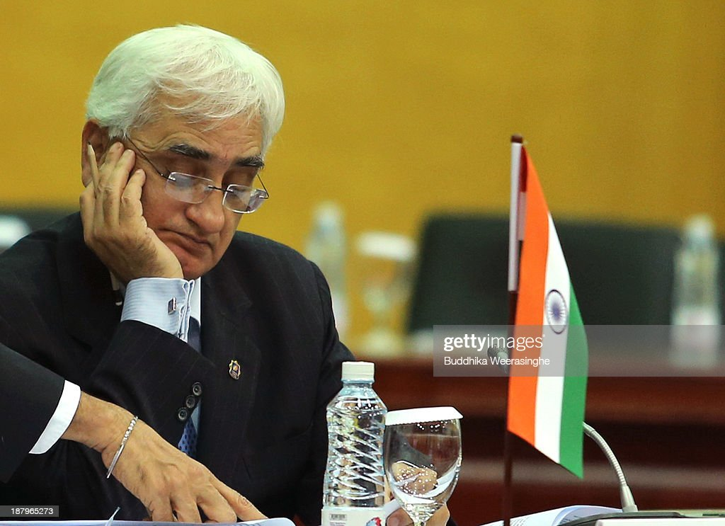 Indian Foreign Minister Salman Khurshid attends the third meeting of Commonwealth Foreign Ministers session, on November 14, 2013 in Colombo, Sri Lanka. The biannual Commonwealth Heads of Government Meeting (CHOGM) will take place from November 15-17, amidst pressure from human rights groups urging leaders to boycott the summit until Sri Lanka further investigates charges of war crimes. Both the Canadian Prime Minister, Stephen Harper and Indian Prime Minister, Manmohan Signh have confirmed they will not attend.