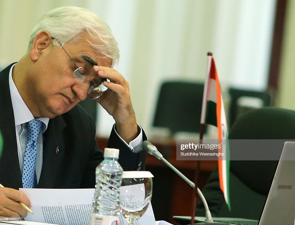 Indian Foreign Minister <a gi-track='captionPersonalityLinkClicked' href=/galleries/search?phrase=Salman+Khurshid&family=editorial&specificpeople=2570174 ng-click='$event.stopPropagation()'>Salman Khurshid</a> attends the third meeting of Commonwealth Foreign Ministers session, on November 14, 2013 in Colombo, Sri Lanka. The biannual Commonwealth Heads of Government Meeting (CHOGM) will take place from November 15-17, amidst pressure from human rights groups urging leaders to boycott the summit until Sri Lanka further investigates charges of war crimes. Both the Canadian Prime Minister, Stephen Harper and Indian Prime Minister, Manmohan Signh have confirmed they will not attend.