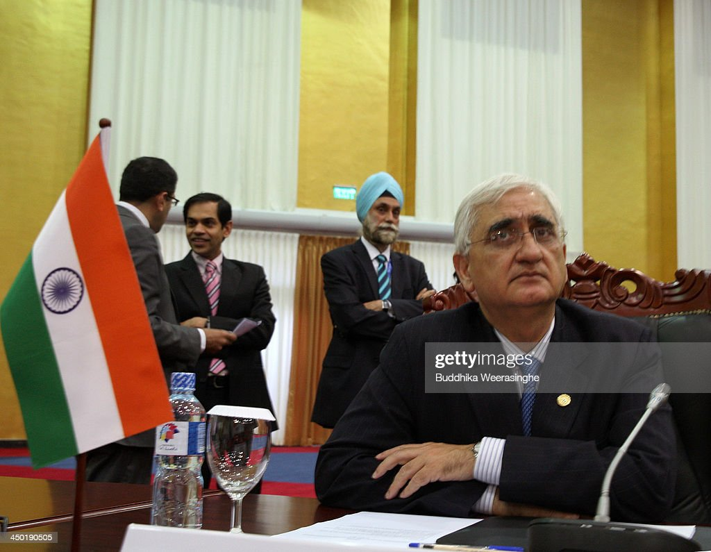 Indian Foreign Minister Salman Khurshid attends the working session of final day of the Commonwealth Heads of Government Meeting (CHOGM) on November 17, 2013 in Colombo, Sri Lanka. The biennial summit of Commonwealth leaders was attended by over 5000 delegates including the Prince of Wales and the Duchess of Cornwall.