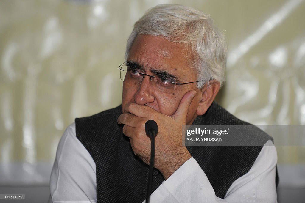 Indian Foreign Minister Salman Khurshid looks on while addressing journalists at the Foreign Correspondents' Club in New Delhi on November 21, 2012. Khurshid is the latest member of India's most illustrious Muslim family to be entrusted with one of the highest offices in the world's largest Hindu-populated country.