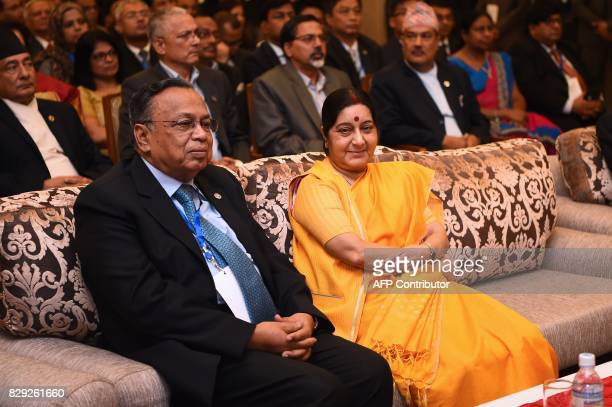 Indian Foreign Minister Sushma Swaraj and Bangladeshi Foreign Minister Abul Hassan Mahmood Ali attend the inauguration session of the BIMSTEC...
