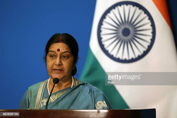 Indian Foreign Minister Sushma Swaraj attends the press conference after the 13th trilateral meeting of Foreign Ministers from Russia India and China...