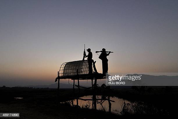 Indian forest guards lookout for rhinocerous from a raised platform at a makeshift camp on the periphery of Pobitora Wildlife Sanctuary in Morigaon...