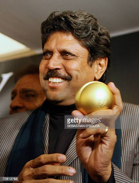 Indian former cricket captain Kapil Dev launches 'Trophy' the official perfume of the ICC World Cup 2007 in Mumbai 13 December 2006 Trophy is the...