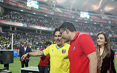 Indian former cricketers and coowners of Kerala Blasters and coowner of Atletico de Kolkata Sachin Tendulkar and Sourav Ganguly during a closing...