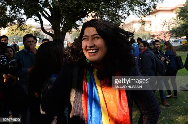 Indian gay rights activist Amalina Dave smiles outside India's Supreme Court in New Delhi on February 2 2016 India's top court agreed February 2 to...