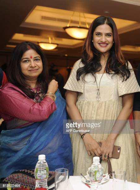 Indian Ghazal singer Rekha Bharadwaj and playback singer Sonal Mohaptra attend a press conference for the 'Khazana Ghazal Festival 2017' in Mumbai on...